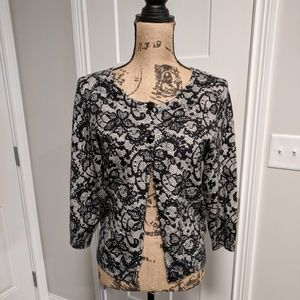 Ruby Rd Black Lace Cardigan Sweater